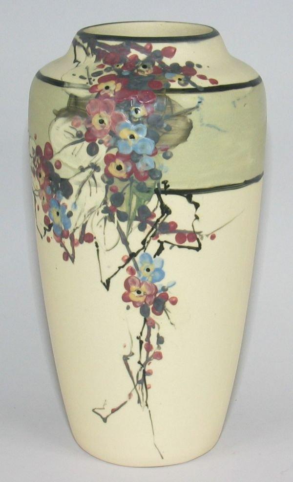 """12: Weller White & Decorated Hudson 9 1/2"""" Vase - Mint"""