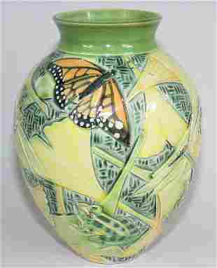 "Cindy Searles 9"" Vase w/ Butterflies, Frogs, More"