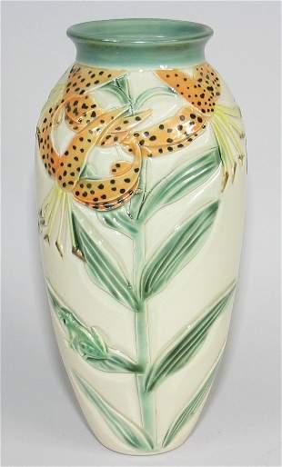 "Cindy Searles 9"" Vase w/ Tiger Lilies, Butterflies"