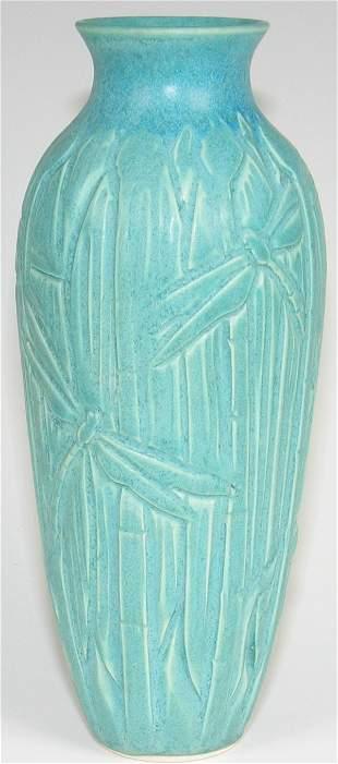 Cindy Searles Arts & Crafts Dragonfly Vase - Mint