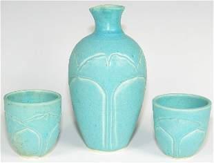 Cindy Searles Arts & Crafts Sake Set - Mint
