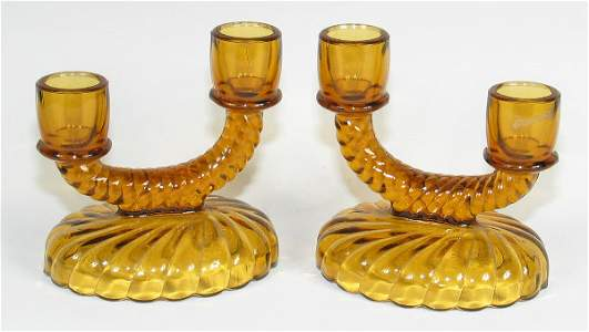 155: Imperial Twisted Rope Candleholders (pr) in Amber
