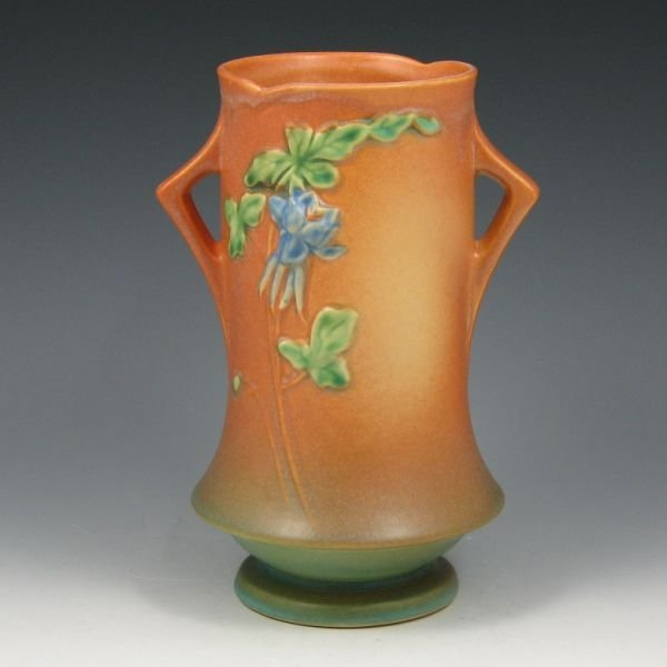 "1208: Roseville Columbine 20-8"" Vase - Mint"