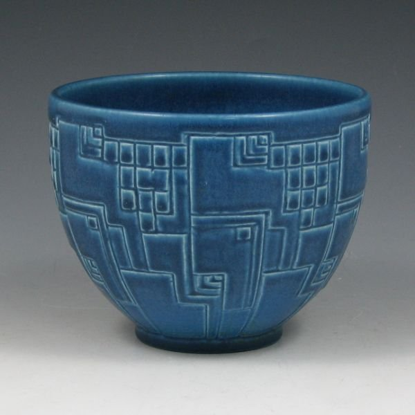 1213: Rookwood 1930 Art Deco Matte Blue Bowl - Mint