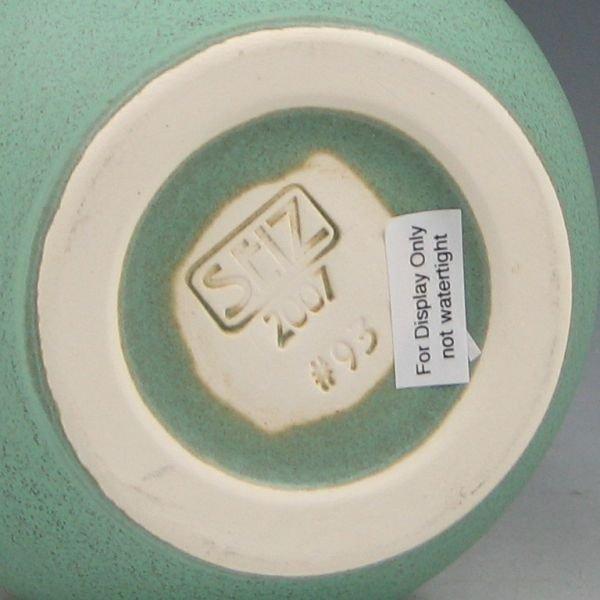 20: Seiz Pottery Arts & Crafts Matte Green Vase - Mint - 2