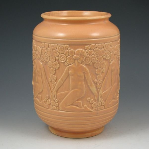 "45: Weller Art Deco 8 5/8"" Vase w/ Nudes - Mint"
