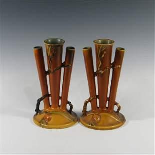 Pair of Roseville Brown Pinecone Triple Bud Vases