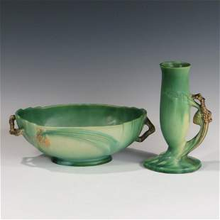 Roseville Green Pinecone Console Bowl & Bud Vase