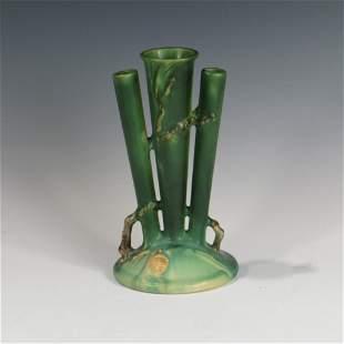 Roseville Green Pinecone Triple Bud Vase