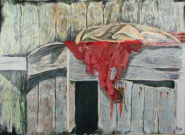 9: Barn door and Red Rug