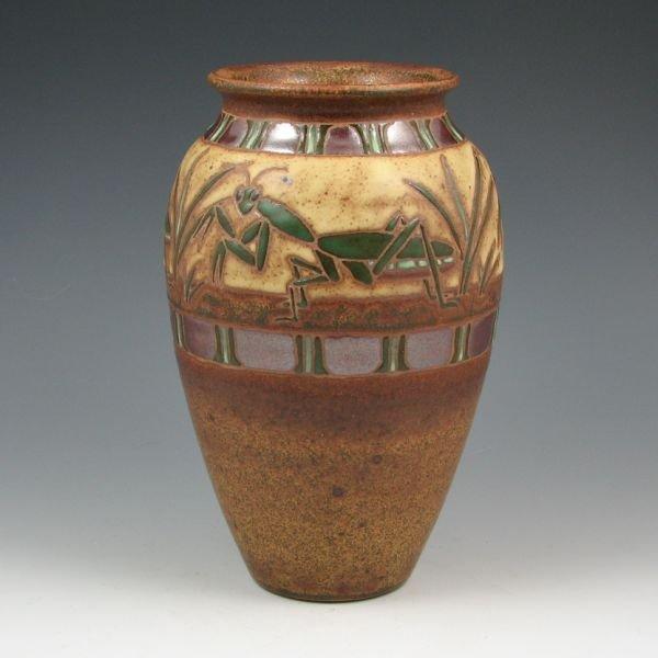 """3: Eric Olson 8 3/8"""" Praying Mantis Vase - Mint"""