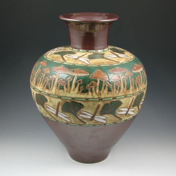"8: Eric Olson 16"" Dragonfly and Mushroom Vase - Mint"