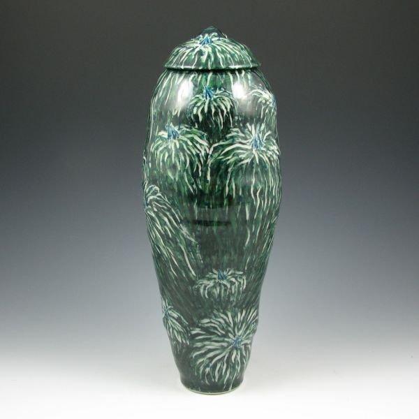 "10: Kathy Koop 15 3/4"" Lidded Floral Jar - Mint"