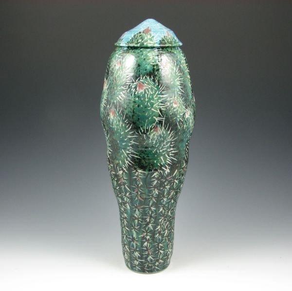 "11: Kathy Koop 16 3/4"" Lidded Cactus Jar - Mint"