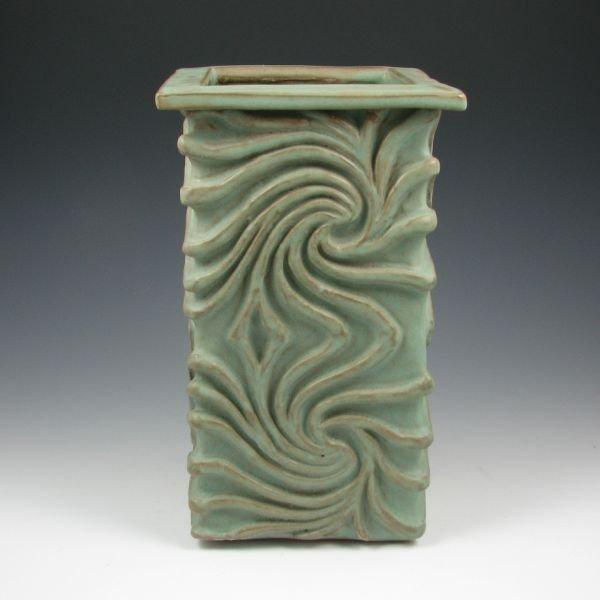 """14: Susan Powers 12"""" Square Vase - Mint"""