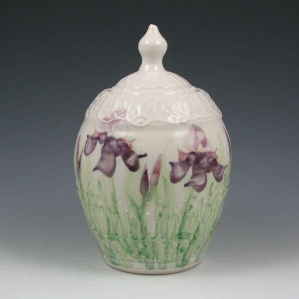 15: Cheri Platter Lidded Jar w/ Irises - Mint