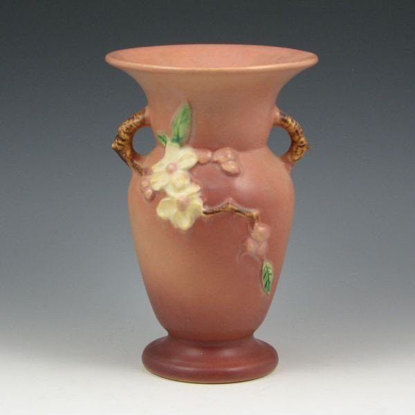 "2211: Roseville Apple Blossom 385-8"" Vase - Mint"