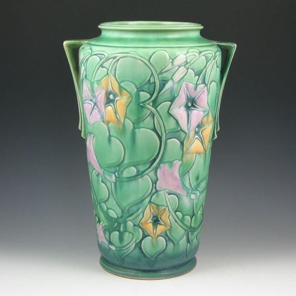 """87: Roseville Morning Glory 732-14"""" Vase - Mint"""