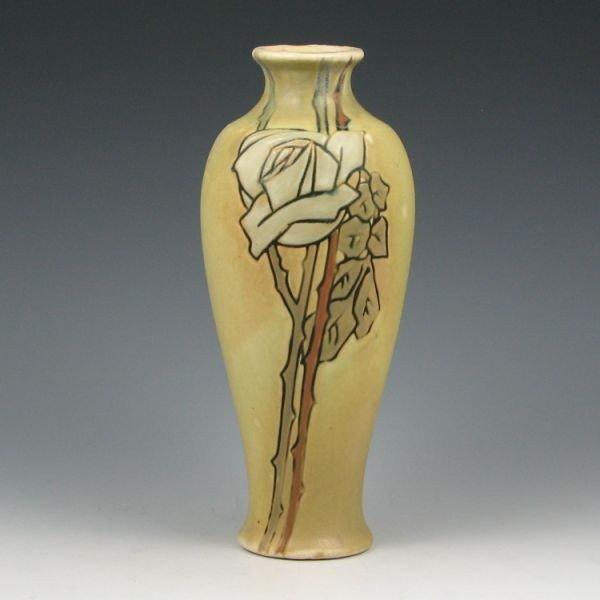 """9: Weller Etched Matt 8 3/4"""" Vase - Excellent"""