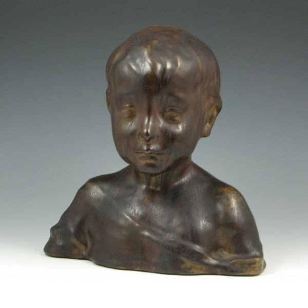 23: Rookwood 1912 Ombroso Glazed Bust of Young Boy