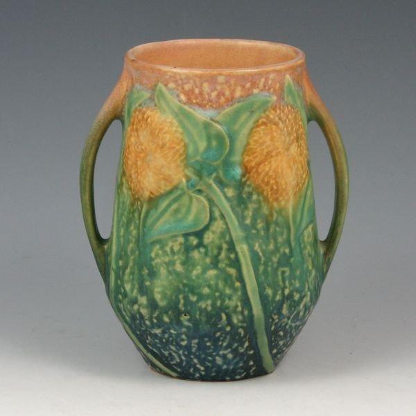"""4: Roseville Sunflower 512-5"""" Vase - Mint"""