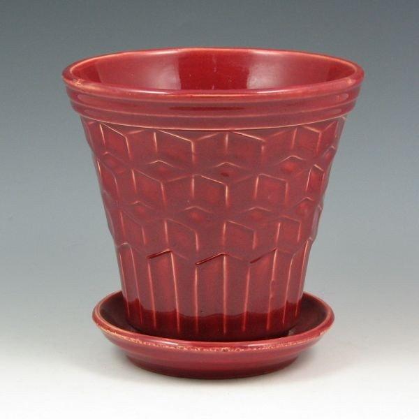 1: McCoy Block Pattern Pot & Saucer - Mint