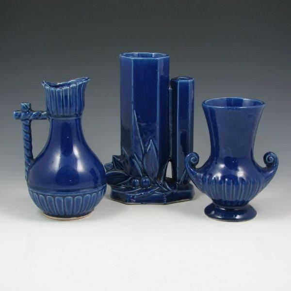 11: McCoy Cobalt Blue Ewer & Vases - Excellent
