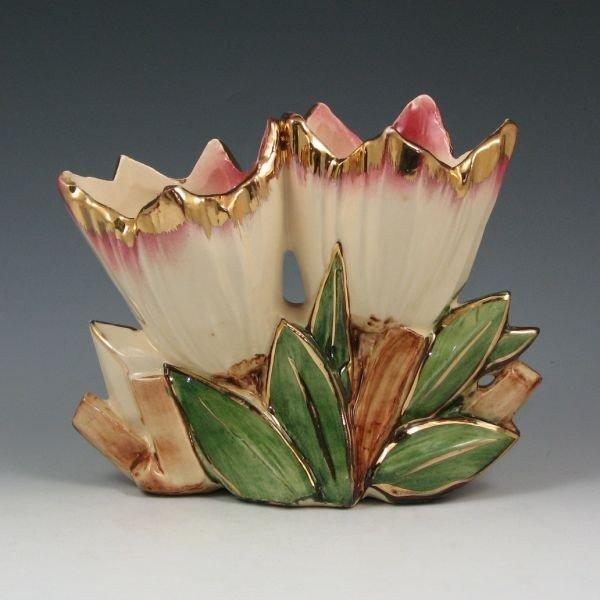 13: McCoy Gold Trimmed Low Double Tulip Vase - Mint