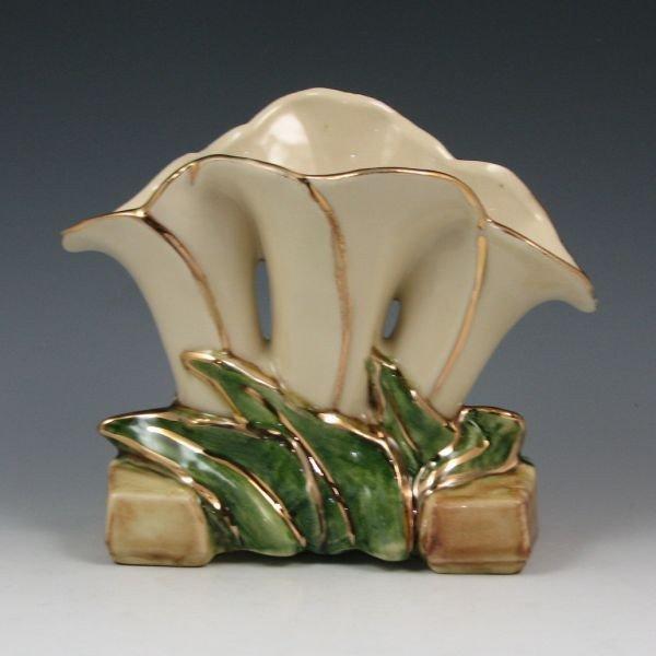 23: McCoy Gold Trimmed White Triple Lily Vase - Mint