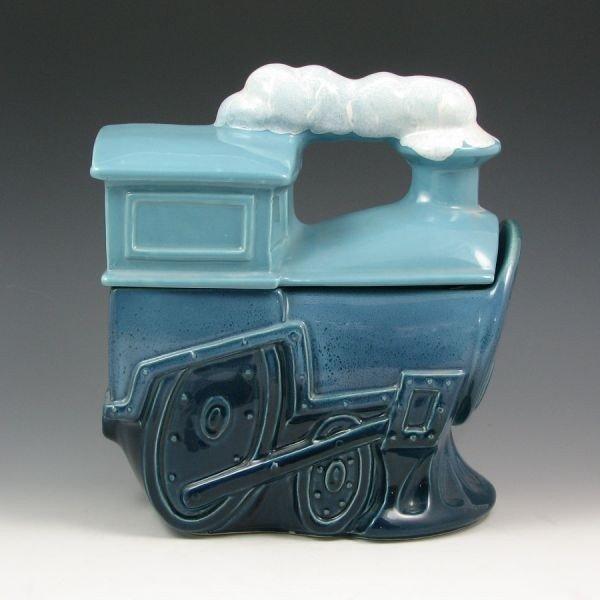 99: McCoy Blue Train Cookie Jar w/ Smoke - Mint