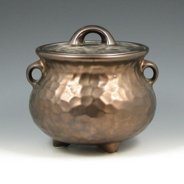 495: McCoy Hammered Copper Bean Pot Cookie Jar - Exc.