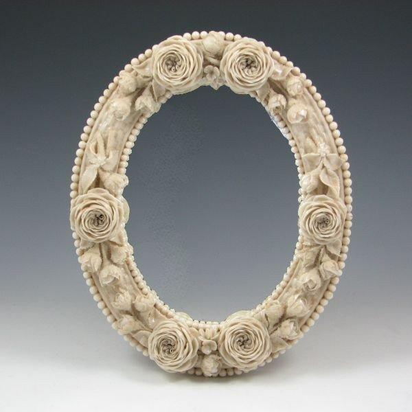 46: Belleek Floral Mirror Frame - 1st Black
