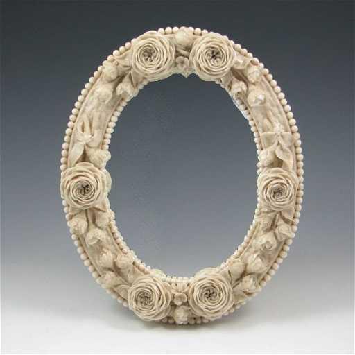 46 Belleek Floral Mirror Frame 1st Black