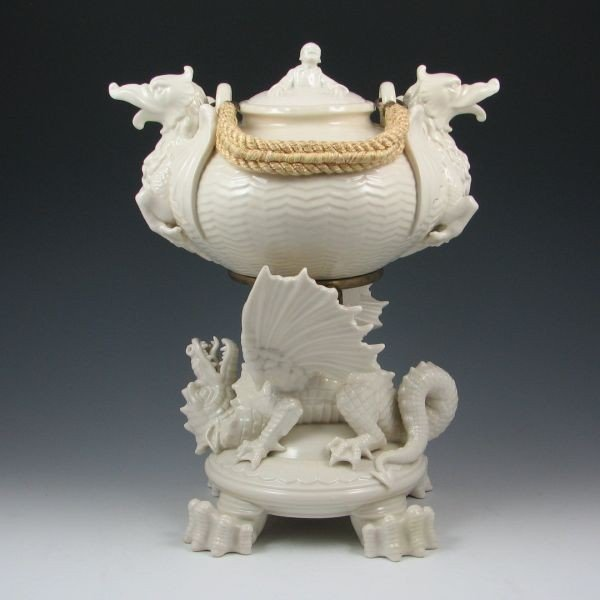 73: Belleek Chinese Kettle On Stand - 1st Black & Reg.