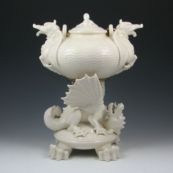 73: Belleek Chinese Kettle On Stand - 1st Black & Reg. - 3