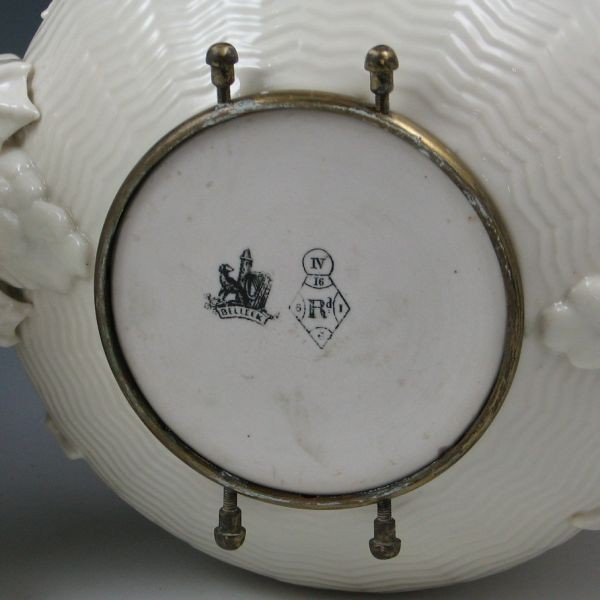 73: Belleek Chinese Kettle On Stand - 1st Black & Reg. - 5