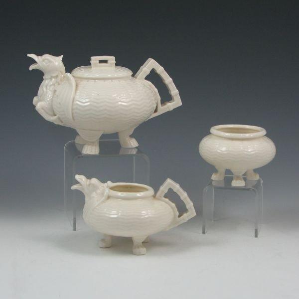 79: Belleek Chinese Small Tea Set - 1st Black