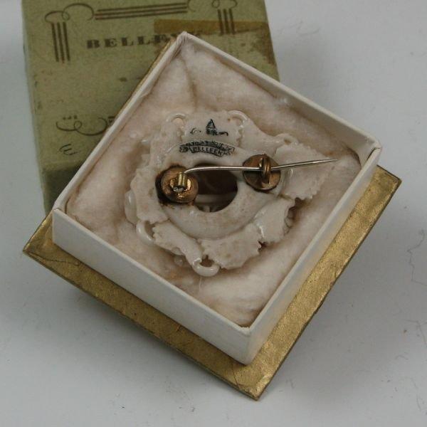106: Belleek Floral Brooch In Box - 1st Black - 2