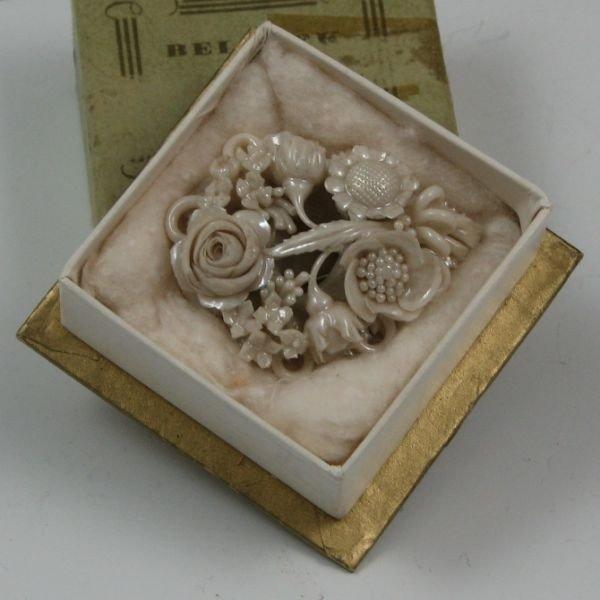 106: Belleek Floral Brooch In Box - 1st Black - 3