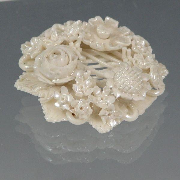107: Belleek Floral Brooch In Box - 1st Black