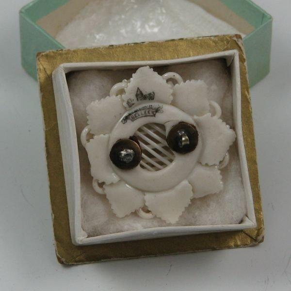 107: Belleek Floral Brooch In Box - 1st Black - 2