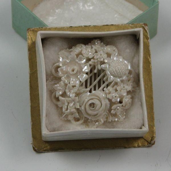 107: Belleek Floral Brooch In Box - 1st Black - 3