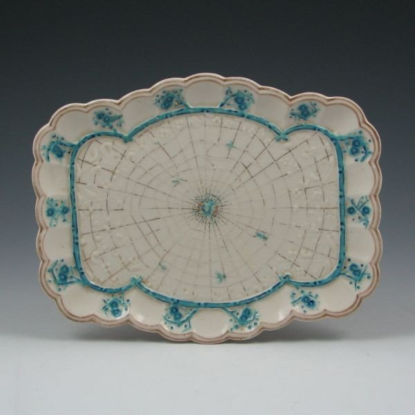 114: Belleek Thorn Tray w/ Gold & Blue - 1st Black