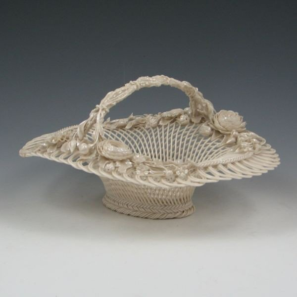 124: Belleek Three-Strand Floral Basket (1890-1920)