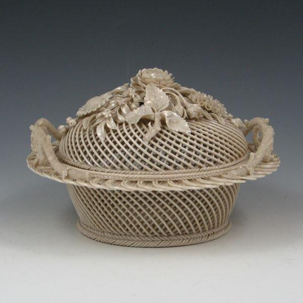 131: Belleek Four-Strand Covered Basket (1921-1954)