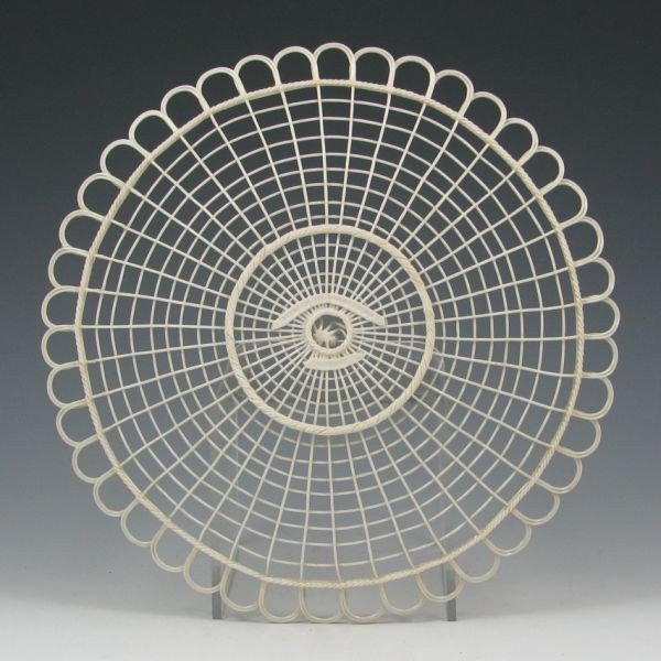 138: Belleek Spider Web Tray - Double Pads - 2
