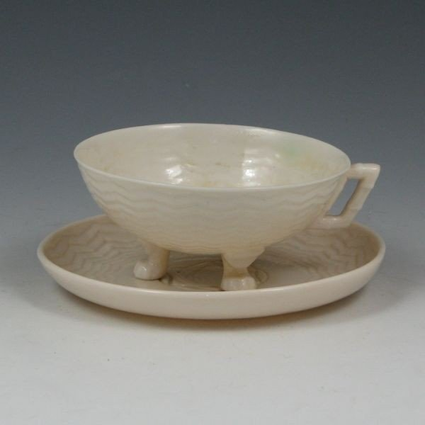 147: Belleek Chinese Cup & Saucer - 1st & 2nd Black