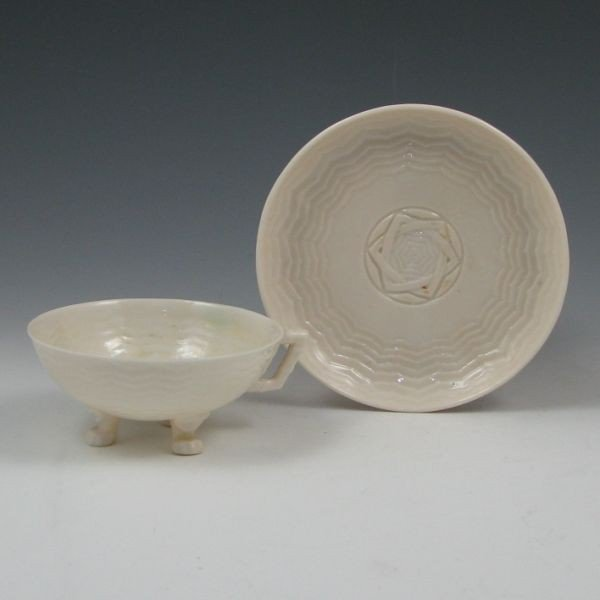 147: Belleek Chinese Cup & Saucer - 1st & 2nd Black - 2