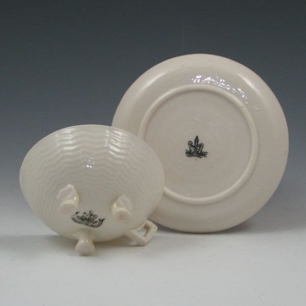 147: Belleek Chinese Cup & Saucer - 1st & 2nd Black - 3