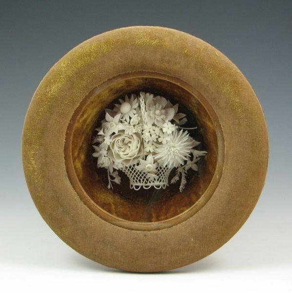 165: Belleek (Attr.) Floral Basket In Display Frame